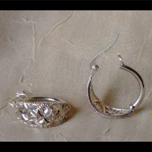 Avon Sterling Silver Filigree Hoop Earrings
